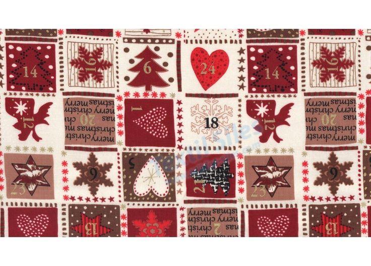 Tejido de Patchwork Navidad Adviento en color rojo