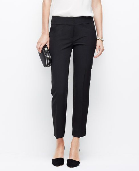 "Tailored to perfection, our ankle length cigarette pants are straight, sleek and endlessly sophisticated. Contoured waistband. Front zip with double hook-and-bar closure. Back besom pockets. Ankle slits. 25 1/2"" inseam. </p> <p> <br /> <br /> <em><span style=""color: purple;"">Items in our Weddings & Events Collection can only be exchanged or returned by mail. <br /></span></em></p>"