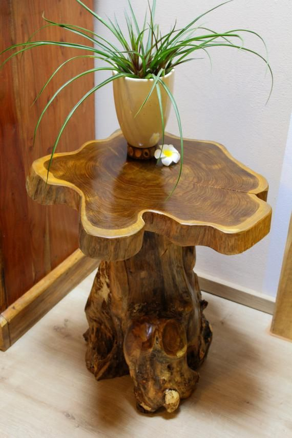 Solid Teak Wood Side Table With Tree Trunk Foot Tree Slice As A