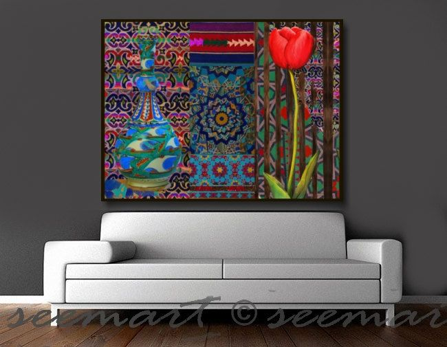 Checkout this amazing product Canvas ART Print,36x48,Large,#Home #Decor,#Floral,Tulip,#Ethnic,Living Room,Blue,#Red,Seema,,$245
