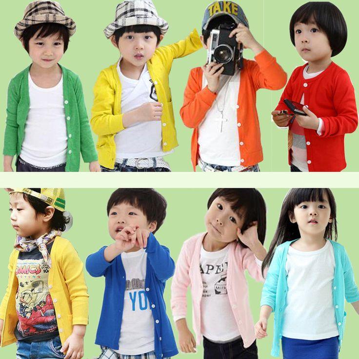 Удивительные! Мальчики и девочка в Simple кардиганы сплошной цвет маленькие дети весна - лето тонкий пальто / Outwear Colorful кардиганы
