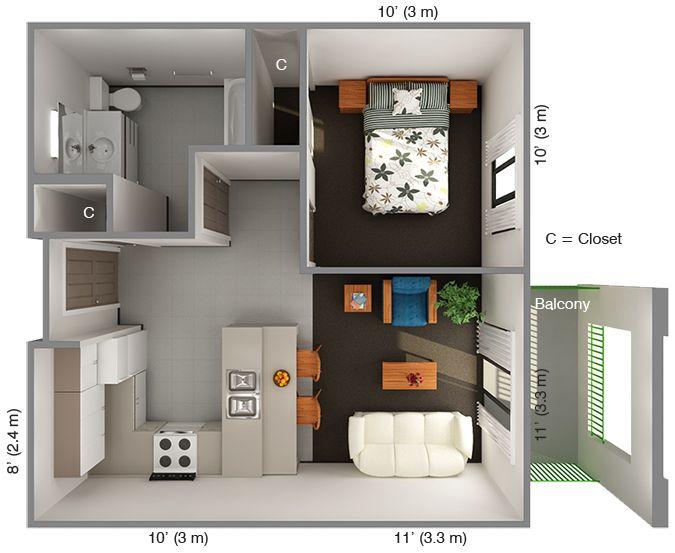 international house 1 bedroom floor plan: top view | decorating