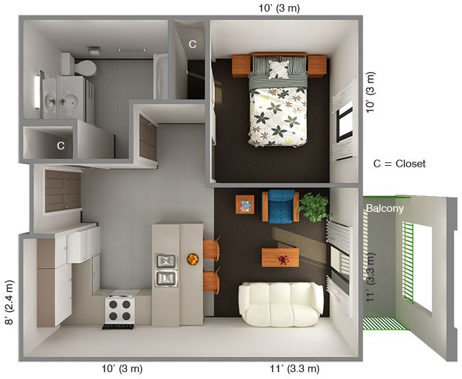 International house 1 bedroom floor plan top view for Apartment one bedroom design
