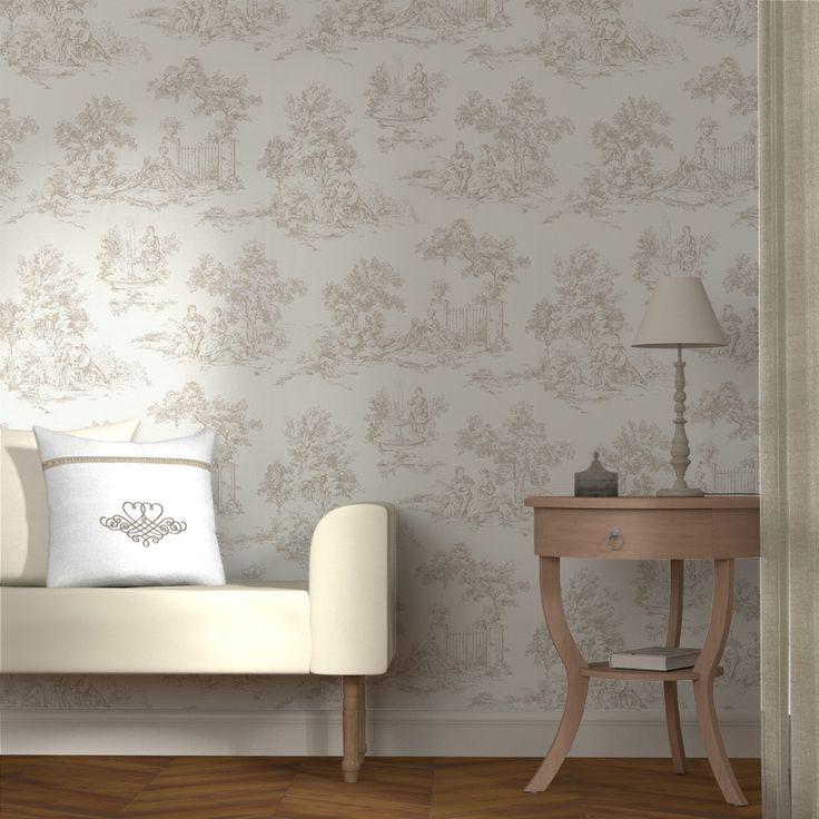 Intiss toile de jouy coloris blanc sable papier peint murs - Papier peint 4 murs chambre adulte ...