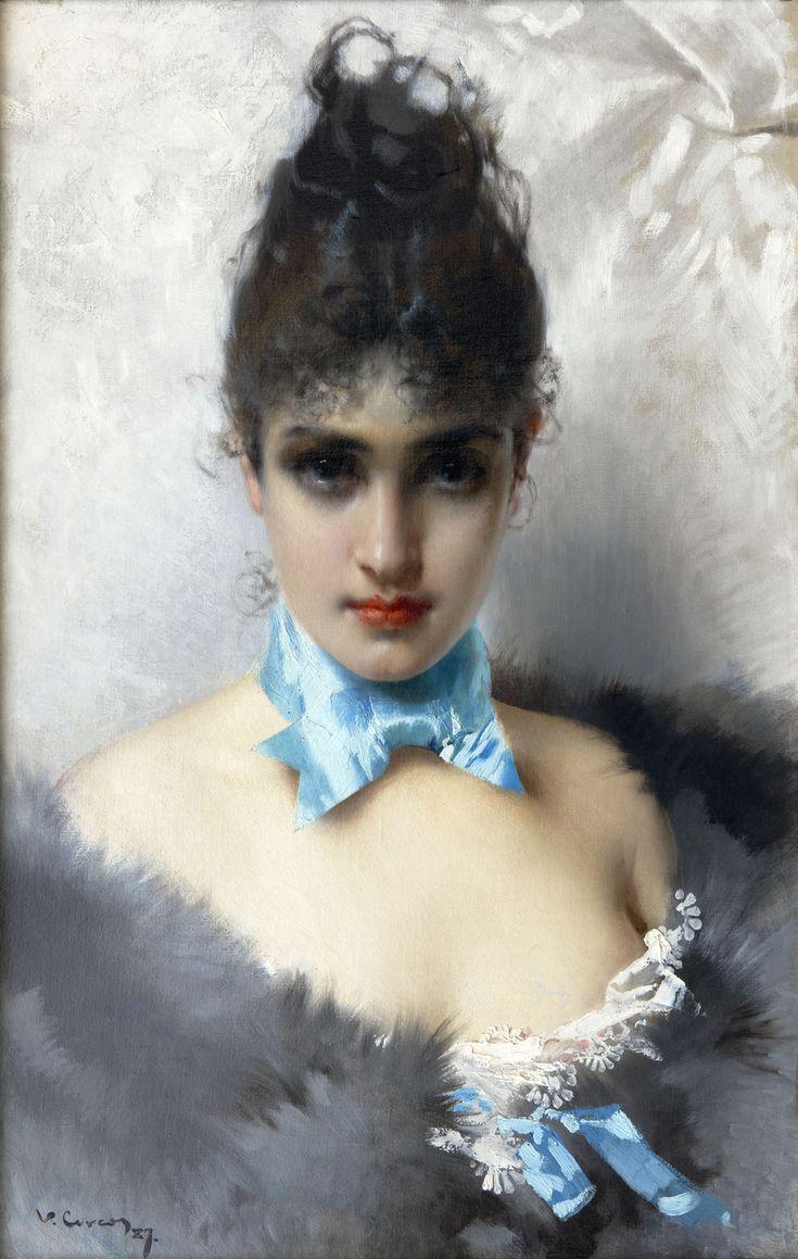 Ritratto di donna elegante, 1887 by Vittorio Matteo Corcos (Italian 1859-1933)