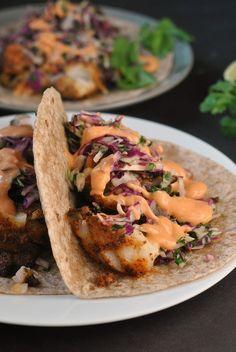 Blackened Fish Tacos with Cilantro Slaw and Sriracha Mayo + Weekly Menu | Prevention RD | Bloglovin'