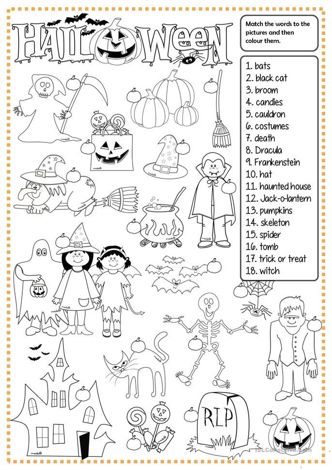 Halloween Matching Halloween Worksheets Halloween Lesson Halloween School Halloween worksheets pic word matching