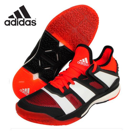 adidas Stabil X Unisex Badminton Shoes Training Red Indoor Sport Racquet BY2521 #adidas