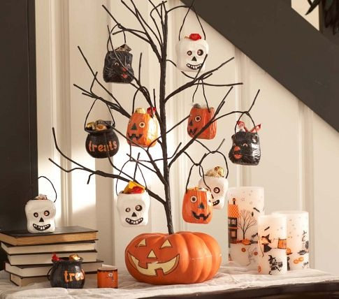 Pumpkin Tree with Mini Treat Buckets by #Pottery Barn Kids - buckets made of paper-mâché