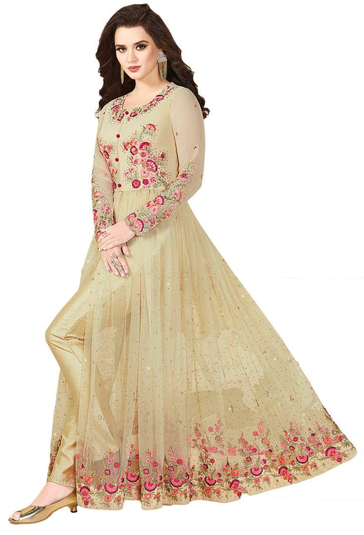 Cream Georgette,Net Achkan Style Salwar Kameez #Net #netsuits #netsalwarkameez #netsalwarsuit #indianwear #indianethnic #indiandress #dress #designer #Suits #nikvik #usa #designer #australia #canada