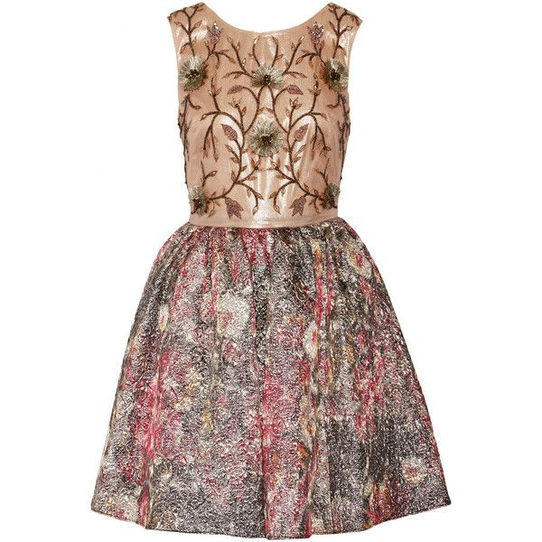 Marchesa Notte Embellished metallic brocade mini dress ($448) ❤ liked on Polyvore featuring dresses, vestidos, marchesa, short dresses, metallic, metallic sequin dress, sequin cocktail dresses, beaded cocktail dress, skater skirt and short beaded dress