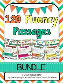 Common Core and So Much More: 1st, 2nd, 3rd, and 4th Grade Reading Fluency Passages! I'm obsessed with this pack! It includes passages to practice fluency, comprehension questions for each passage, and graphs to chart progress!! I need this!!
