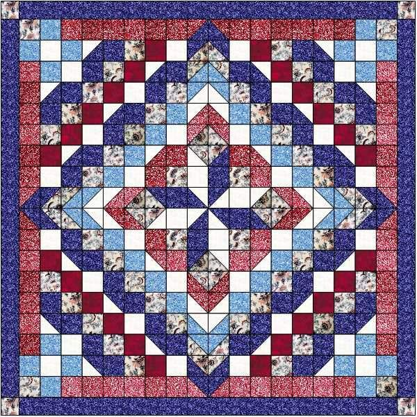 White and Blues//Precut Ready to Sew Quilt Kit Patriotic Barn Stars//Red