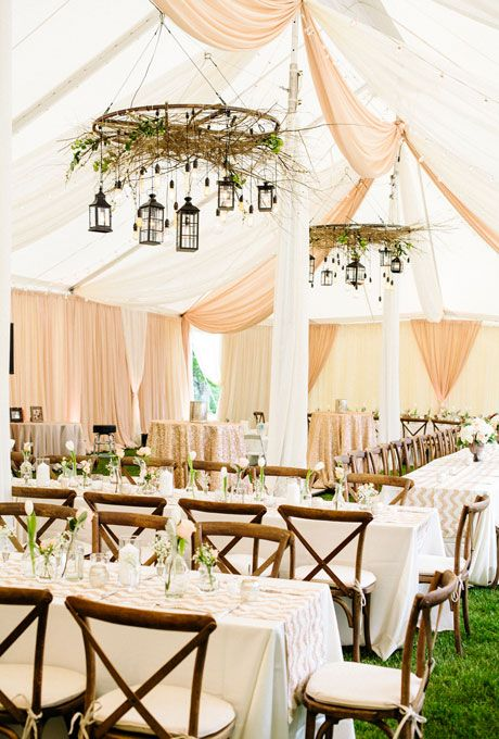 Beautiful Wedding Tent Ideas: Peach and White Draped Fabric with Hanging Lanterns   Brides.com