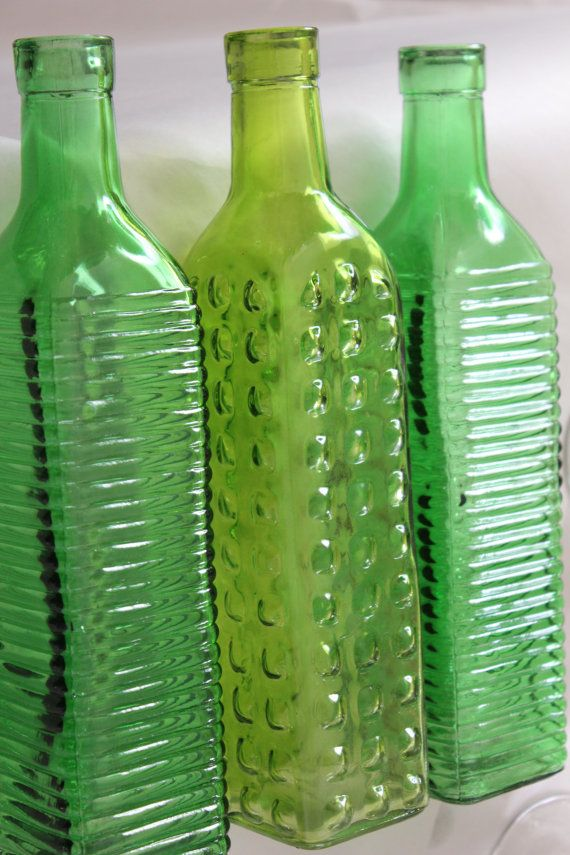 Set of 10 GREEN GLASS Bottles Lime Apple Colored by Embellish1122, $50.00