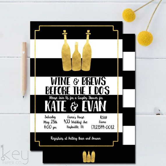 Engagement party or rehearsal dinner invitation idea - modern invitation idea - Wine and Brews Before the I Do's {Courtesy of Etsy}