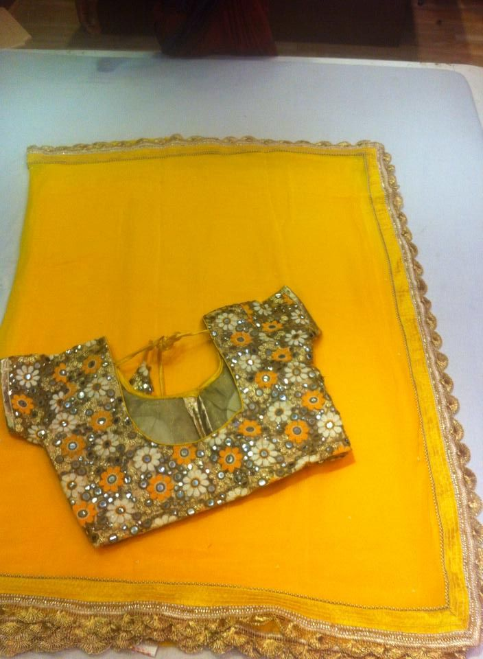 Latest Chiffon Fancy Sari Paired With Semistiched Mirror Work Blouse  Buy Online sarees   Elegant Fashion Wear