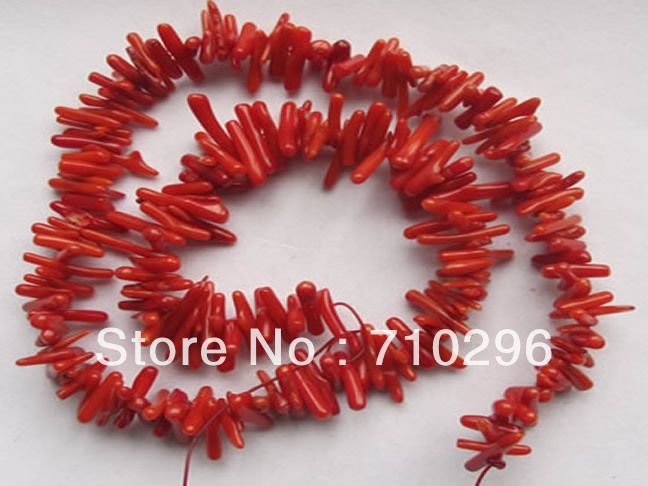 Красный коралл 3 X 12 мм чипы бусины драгоценного камня коралловые украшения diy ожерелье бусины 15.5 /шт 10 шт./лот