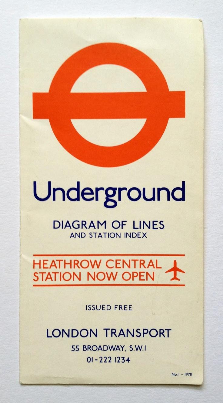 Vintage London Underground map, type (often mistaken for Gill Sans) designed by Edward Johnston