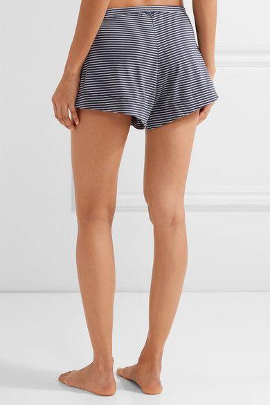 Skin - Striped Pima Cotton And Modal-blend Pajama Shorts - Midnight blue -