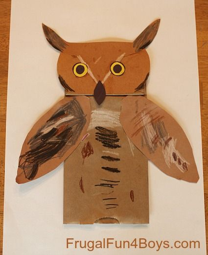 Great Horned Owl Paper Bag Puppets - Frugal Fun For Boys-could be used with other animals. Foxes? Birds? Alligator? So many possibilities.