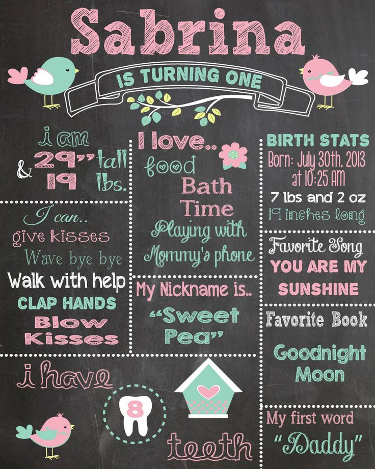 First Birthday Chalkboard Printable Poster bird theme / Baby Girl / 1st Birthday .pdf or .jpeg by RusticRosebudDesigns on Etsy https://www.etsy.com/listing/197777217/first-birthday-chalkboard-printable