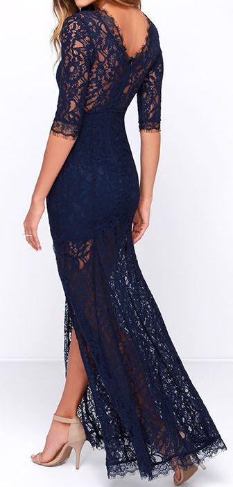 Navy Blue Lace Maxi Dress