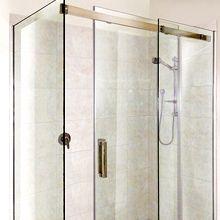 Semi frameless sliding shower screen.