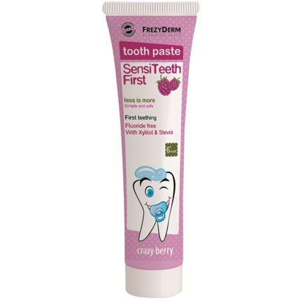 Frezyderm SensiTeeth First Tooth Paste Οδοντόκρεμα Για Την Πρώτη Οδοντοφυΐα Για Βρέφη Από 6 Μηνών Έως 3 Ετών Παιδιά 40ml. Μάθετε περισσότερα ΕΔΩ: https://www.pharm24.gr/index.php?main_page=product_info&products_id=4423