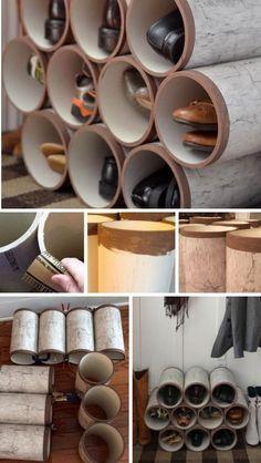 rangement chaussures original: tubes en plastique poncés et décorés