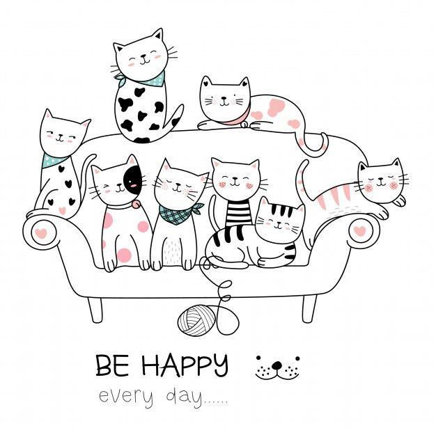 Estilo Dibujado Mano Linda De La Historieta Del Gato Ilustraciones De Gato Dibujos De Gatos Gato Bonito