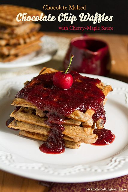 Malted Chocolate Chip Waffles with Maple-Cherry Sauce by Back to the ...