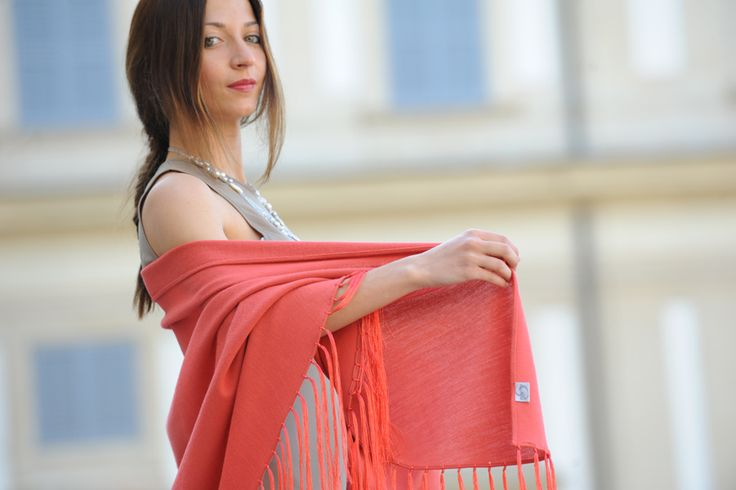 Shawl wrap with silk fringe for an elegnat occasion...discover it on shop.marinafinzi.com #MadeinItaly #MarinaFinzi #summer2015