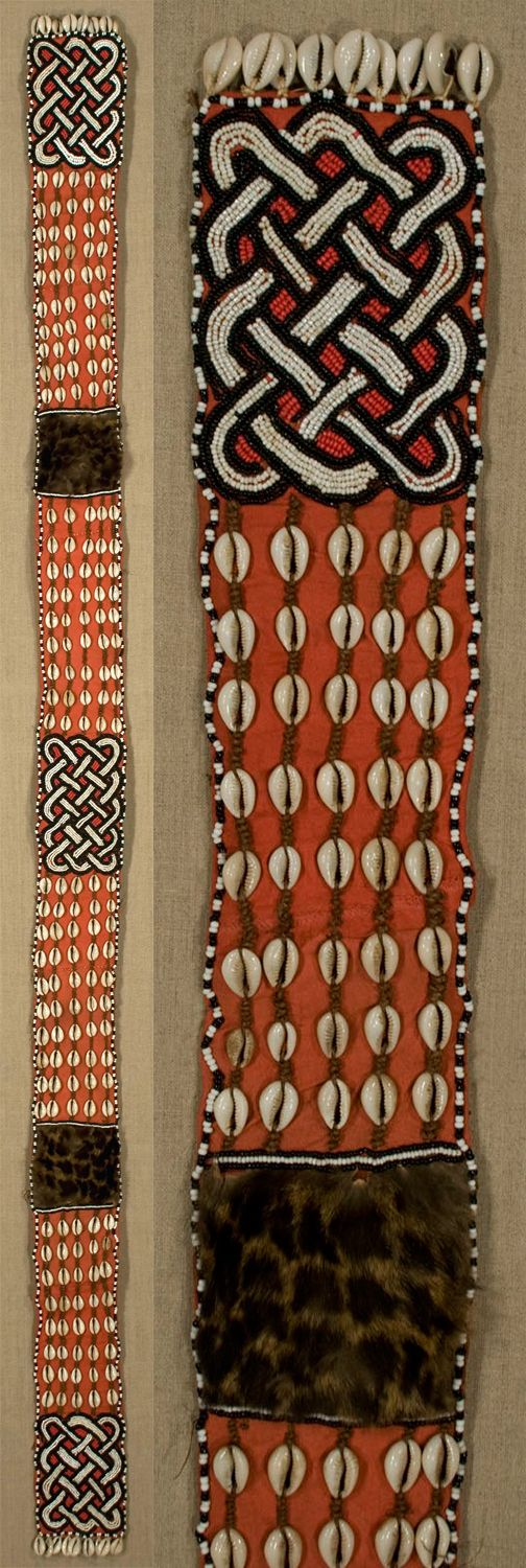 Africa | 'N'Denguese' belt from the Kuba people of DR Congo | Cowrie shells, fur, glass beads, seeds on raffia / cotton base