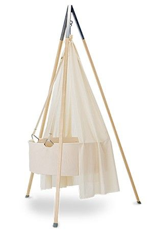 Leander Cradle from Denmark, hang or use the base.  LOVE