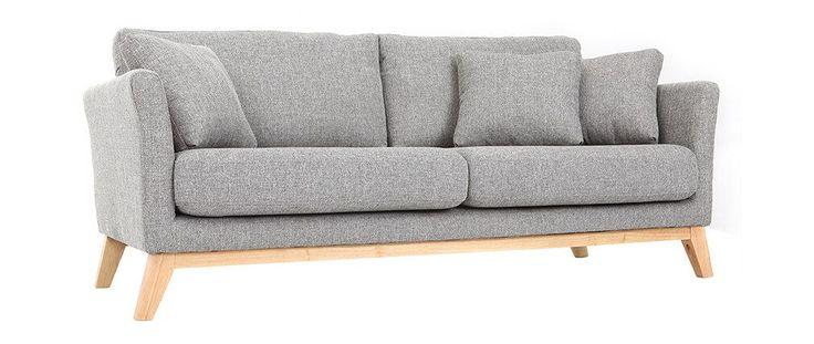 Canapé scandinave 3 places gris clair pieds bois OSLO