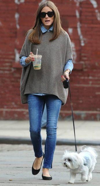 Skinny jeans + harmaa poncho + sininen paita + mustat ballerinat