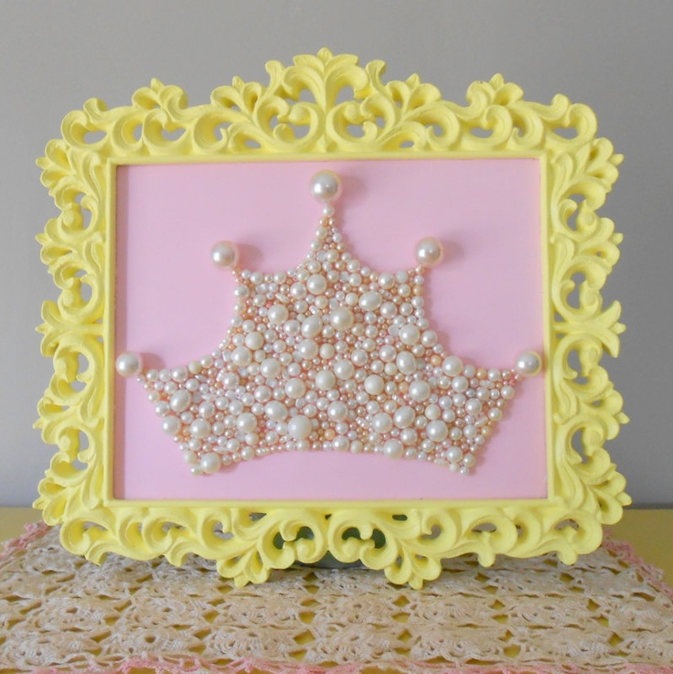 Pearl Princess Crown Art. Large Mosaic wall art. Pastel pink and lemon yellow. Painted frame. Shabby chic girls room.Repurposed pearls.. $75.00, via Etsy.