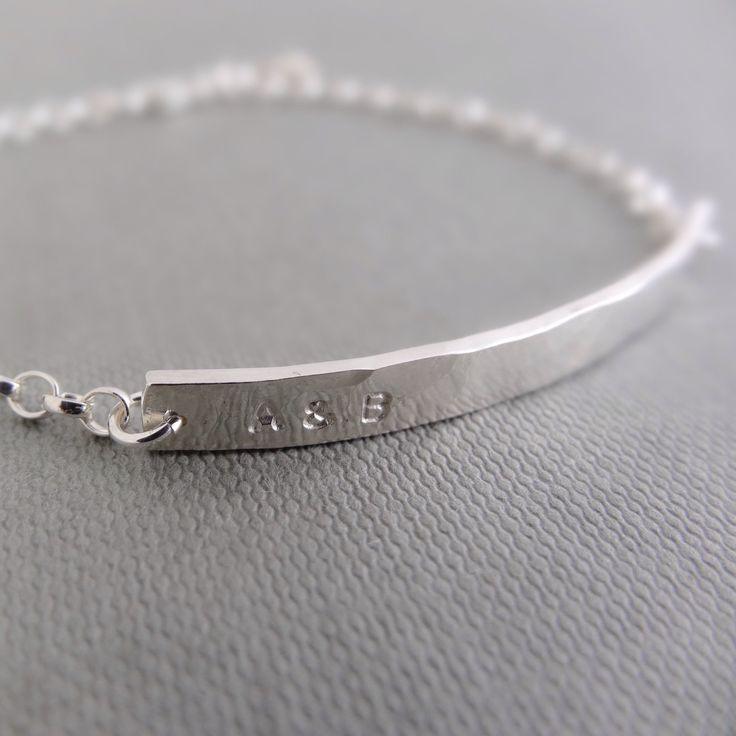 Personalised silver bar bracelet