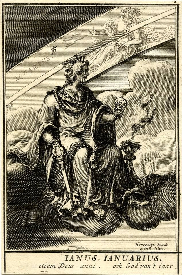 January is named after the Roman god Janus. He had two faces to see the future and the past! This engraving of Janus by Dutch artist Jacobus Harrewyn was made in 1698. Source: British Museum.