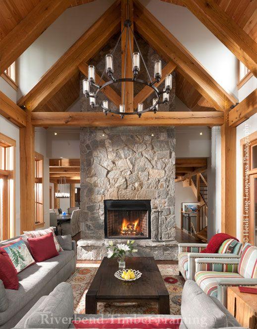 rocky mtn allure timber frame great room custom design riverbend timber framing