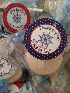 Favor tags. Part of Ahoy! It's a Boy! Nautical baby shower for a boy.
