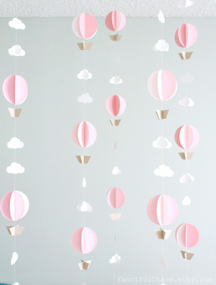 Hot Air Balloon Paper Garland- Wedding, Birthday, Bridal Shower, Baby Shower, Party Decorations, Baby Nursery, Mobile, Photo Prop by FancifulChaos on Etsy https://www.etsy.com/listing/212611165/hot-air-balloon-paper-garland-wedding
