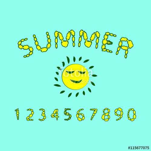 Вектор: Floral summer font. Red and yellow colors of the font, the Arabic numerals