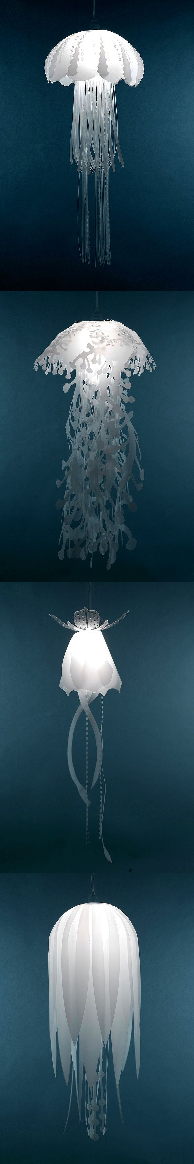 Thin, lively and realistic, these charming hanging jellyfish lamps will give you the underwater experience without a sting. Check it out ==> | Jellyfish Lamps | http://gwyl.io/jellyfish-lamps/