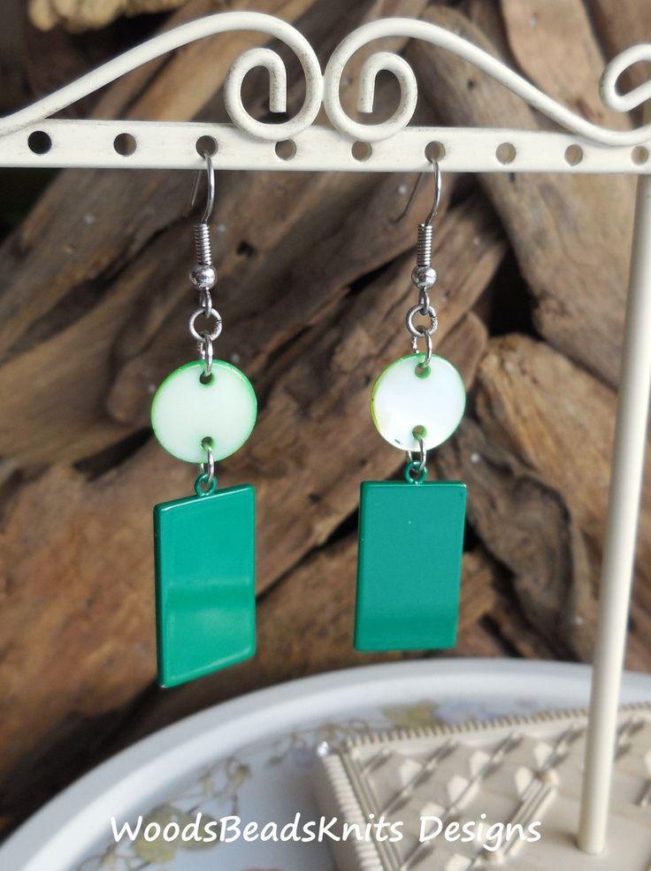 Geometric Earrings, Green Earrings, Shell, Enameled Steel, Circle, Rectangle, Hypoallergenic Stainless Steel Hooks, St Patrick Day Gift