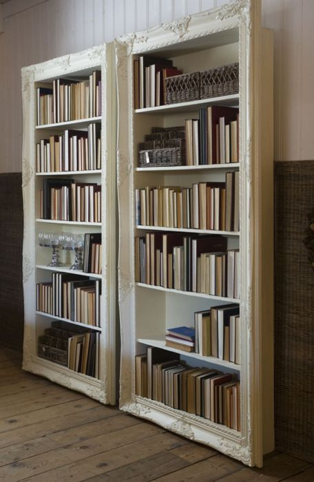 Frames around bookcases! But clearly these people aren't planning on reading their books...Bookshelves, Bookcases, Libraries Book, Old Windows Frames, Book Shelves, Vintage Frames, Display Cases, Book Cases, Pictures Frames