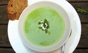 Pea soup with bacon, lemon, and sour cream. Yum.