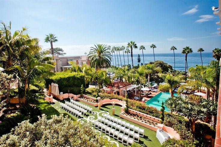 Gorgeous Garden Ceremony Set Up - La Valencia Hotel in La Jolla, CA