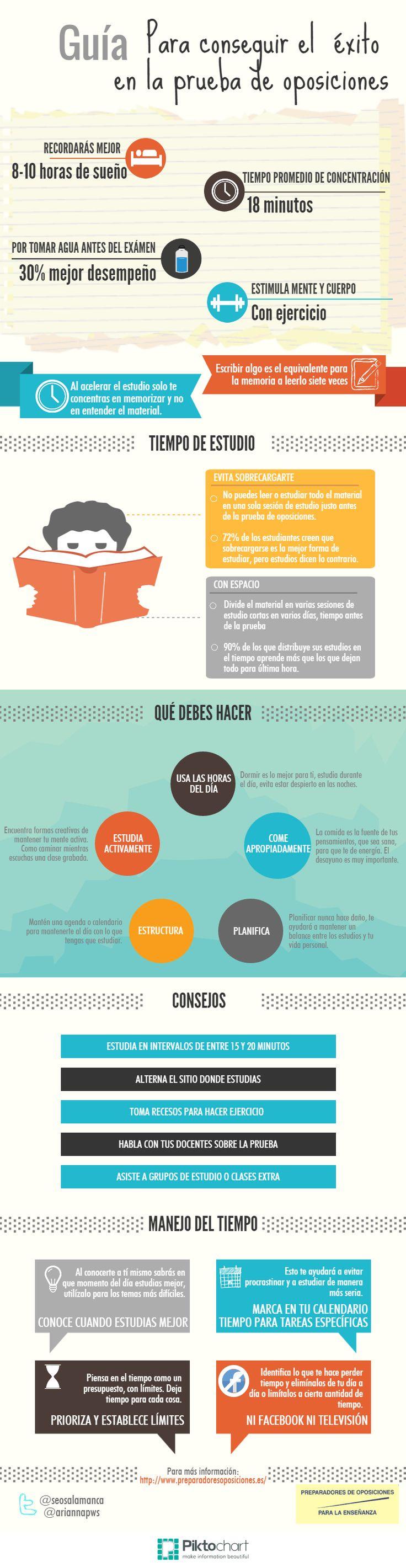 Hola: Una infografía sobre cómo tener éxito en una Oposición. Vía Un saludo